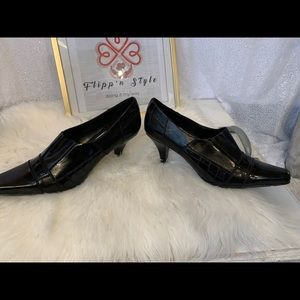 Franco Sarto Shoes: Black Luxe Str low heel